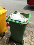 Trash bin on the road Stock Photo