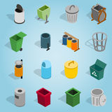 Trash bin set icons, isometric 3d style. Isometric trash bin icons set. Universal trash bin icons to use for web and mobile UI, set of basic trash bin elements Royalty Free Stock Image