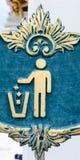 Trash bin sign. Old blue trash bin sign Royalty Free Stock Image