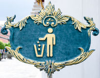 Trash bin sign. Old blue trash bin sign Stock Image