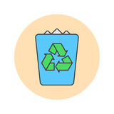 Trash bin thin line icon, garbage filled outline vector logo ill Royalty Free Stock Photography