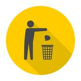 Trash bin or trash can with human figure symbol icon with long shadow. Vector icon Stock Images