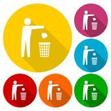 Trash bin or trash can with human figure symbol icons set with long shadow. Vector icon Royalty Free Stock Photos