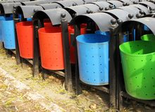 Trash bins. New trash bins in the park Stock Photography