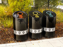 Trash bins. Colored marked trash bins. Zealand Royalty Free Stock Photo