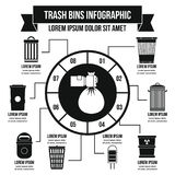 Trash bins infographic concept, simple style. Trash bins infographic banner concept. Simple illustration of trash bins infographic vector poster concept for web Stock Photography