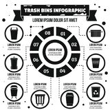 Trash bins infographic concept, simple style. Trash bins infographic banner concept. Simple illustration of trash bins infographic vector poster concept for web Vector Illustration