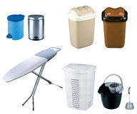 Trash bins and Ironing Board. On white background Stock Photos