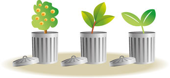 Trash bins with plants Stock Photos