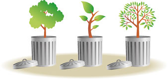 Trash bins with plants Royalty Free Stock Photos