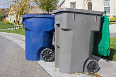 Trash Bins Ready for Pickup Stock Photos