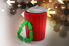 Trash box with recycle icon Royalty Free Stock Images