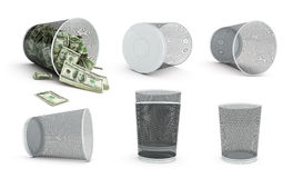 Trash bucket. Garbage basket of complete money on a white background Stock Photo