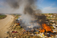 Trash burning Stock Photo