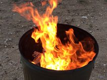 Trash Burning. Fire, trash, garbage, flames Stock Photo