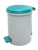 Trash can. Plastic trash can, isolated on a white background Stock Photos