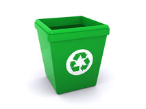 Trash can. Green trash can with a recycle symbol, isolated on a white background Stock Photo