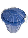 Trash can. Blue plastic trash can closed Royalty Free Stock Photography