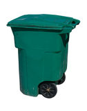 Trash can. Large, green wheeled trash can on white Stock Photography