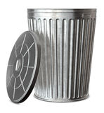 Trash Can. A galvanized trash can with the lid-off on a white background Stock Photos