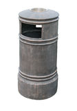 Trash can with ash tray white metal clipping path Stock Photo