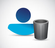 Trash can and avatar illustration design Royalty Free Stock Photo