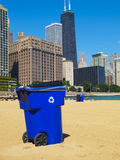 Trash Can in the beach Royalty Free Stock Images