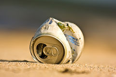 Trash can on the beach. Picture of a trash can on the beach Royalty Free Stock Photos