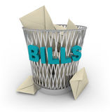 Trash Can for Bills Royalty Free Stock Images