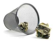 Trash Can Bin With Cash Royalty Free Stock Photography