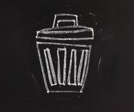Trash Can on a Blackboard Royalty Free Stock Photos