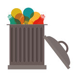 Trash can with bulbs inside Royalty Free Stock Photography
