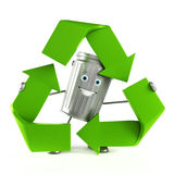 Trash can character. 3d rendered illustration of a trash can character Stock Image