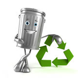 Trash can character. 3d rendered illustration of a trash can character Stock Photos