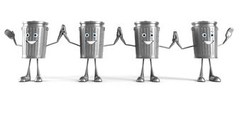 Trash can character Royalty Free Stock Photo