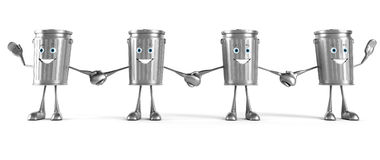 Trash can character. 3d rendered illustration of a trash can character Stock Photography