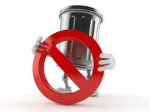Trash can character with forbidden sign. Isolated on white background Royalty Free Stock Images