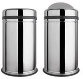 Trash can with easy swing lid polished stainless steel. Polished stainless steel trash can with easy swing lid mechanism, isolated on white background Stock Images