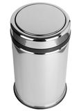 Trash can with easy swing lid polished stainless steel top view. Polished stainless steel trash can with easy swing lid mechanism, top view, isolated on white Stock Photos