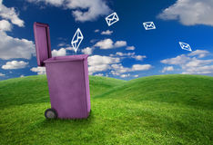 Trash can and envelopes Royalty Free Stock Image