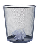 Trash can filled with crumbled paper isolated on white backgroun. D Stock Photo