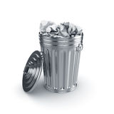 Trash can filled with paper Stock Photography
