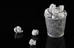Trash can full. Full trash can with white baground Royalty Free Stock Photos