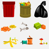 Trash Can and Garbage. Editable trash can and garbage vector illustration Royalty Free Stock Images
