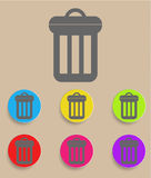Trash can icon with color variations, vector.  Royalty Free Stock Photos