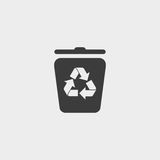 Trash can icon in a flat design in black color. Vector illustration eps10 Royalty Free Stock Image