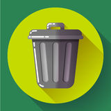 Trash can icon Recycle Bin Garbage Flat Vector Illustration Royalty Free Stock Photo