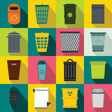 Trash can icons set, flat style Royalty Free Stock Image