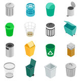Trash can icons set, isometric 3d style Stock Photography