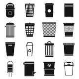 Trash can icons set, simple style Royalty Free Stock Images
